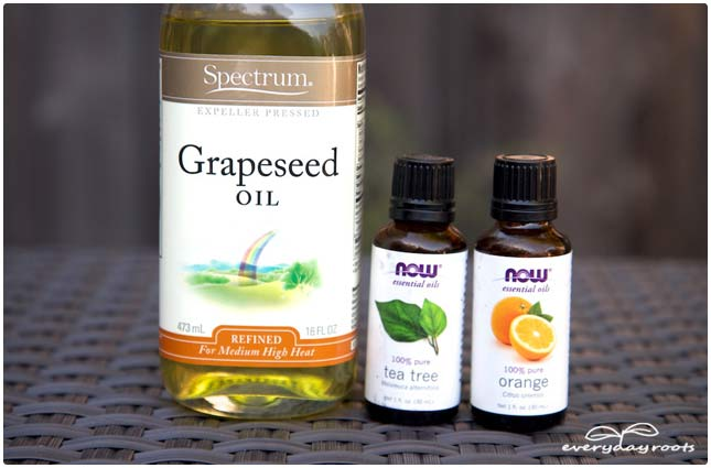 essential oils and grapeseed oil