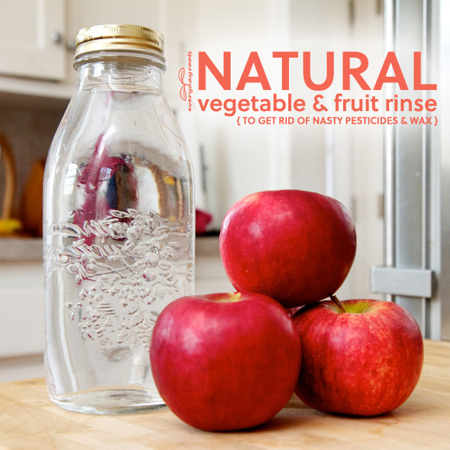 How to Make Natural Fruit and Vegetable Rinse- to get rid of nasty pesticides & the wax coating found on a lot of store-bought fruits. This will make your fruit taste so much better!
