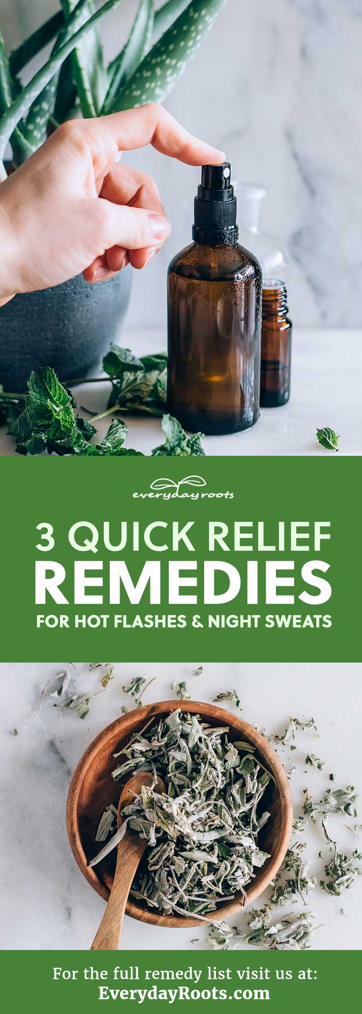 Here are 3 easy remedies for hot flashes and night sweats, including- a diy peppermint spray and eucalyptus cold compress.
